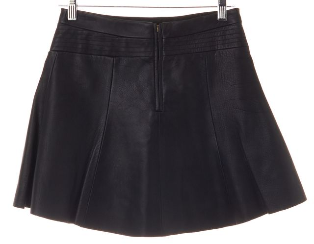 A.L.C. Black Cow Leather Striped Flare Skirt