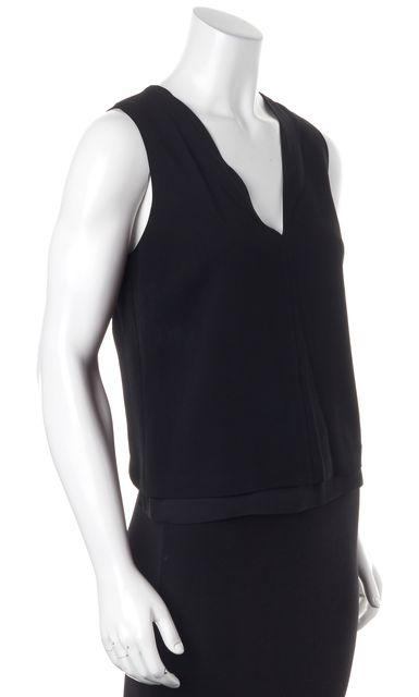 A.L.C. Black V-Neck Sleeveless Layered Blouse Top