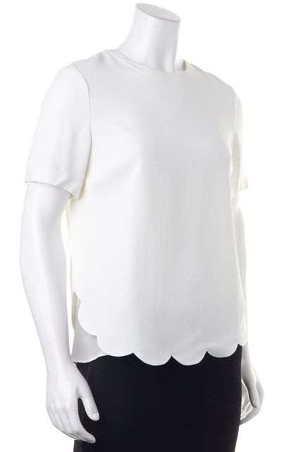 A.L.C. White Short Sleeve Scallop Trim Summer Blouse Top
