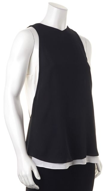 A.L.C. Black White Layered Silk Tank Top