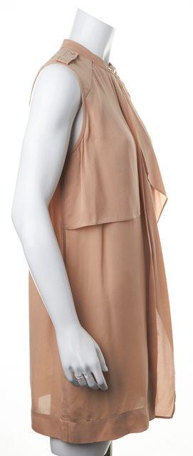 A.L.C. Beige Silk Ruffle Shirt Dress