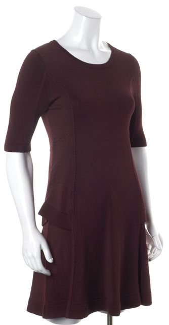 A.L.C. Burgundy Red Crewneck Above Knee Stretch Fit & Flare Dress