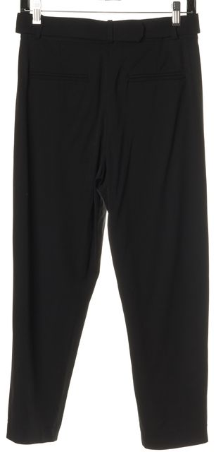 A.L.C. Black High Rise Pleated Belted Cropped Trousers Pants