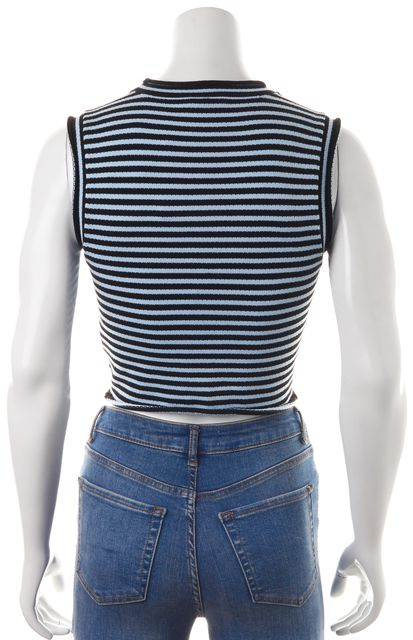 A.L.C. Blue Black Striped Sleeveless Cropped Knit Top