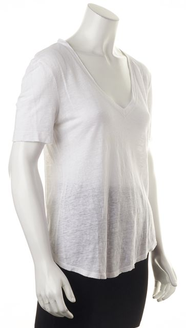 A.L.C. White Linen V-Neck T-Shirt