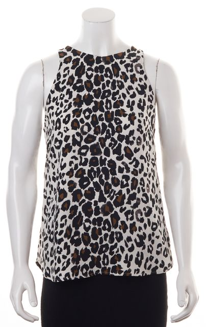 A.L.C. Ivory Black Brown Leopard Printed Silk Sleeveless Blouse Top