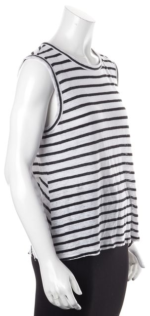 A.L.C. White Black Striped Linen Sleeveless Open Knot Back Tank Top