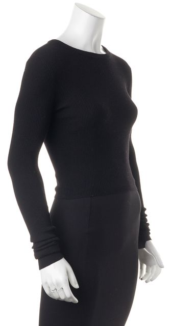 A.L.C. Black Wool Long Sleeve Stretch Blouse Top