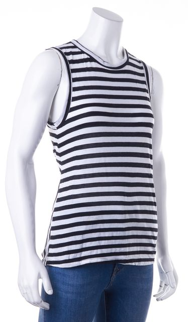 A.L.C. Black White Striped Back Tied Sleeveless Basic Tee T-Shirt