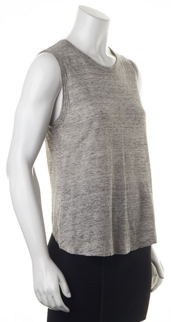 A.L.C. Gray Linen Sleeveless Open Lower Back Blouse Top