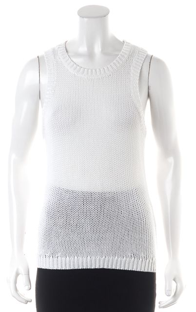 A.L.C. White Perforated Asymmetrical Hem Knit Sleeveless Tank Top