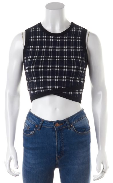 A.L.C. Black Navy Blue Plaid Sleeveless Cropped Knit Top