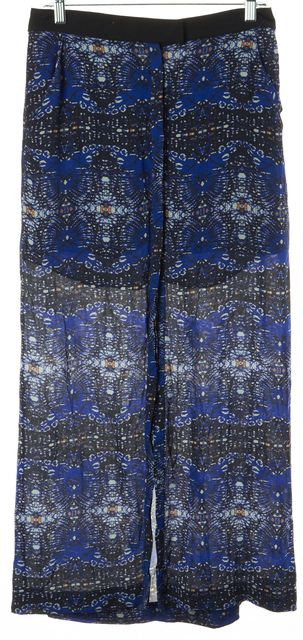 A.L.C. Blue Abstract 100% Silk Front Slit Buttoned A-Line Skirt