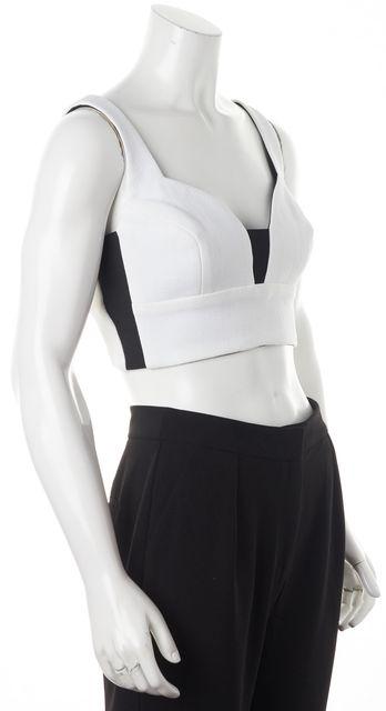 A.L.C. White Black Stretch Sides Sleeveless Bralette Cropped Top