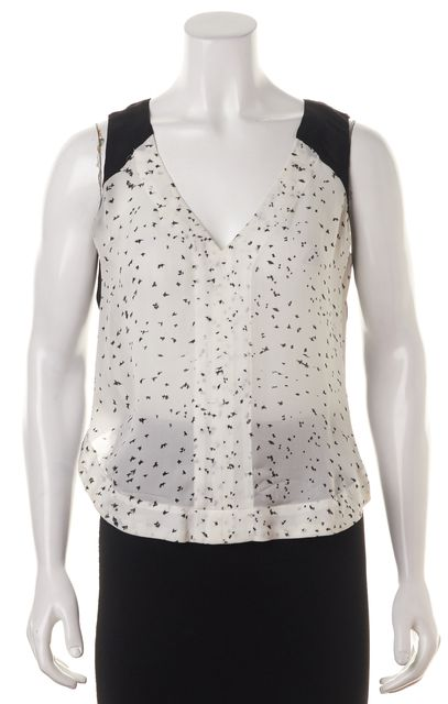 A.L.C. White Silk Graphic Blouse Top