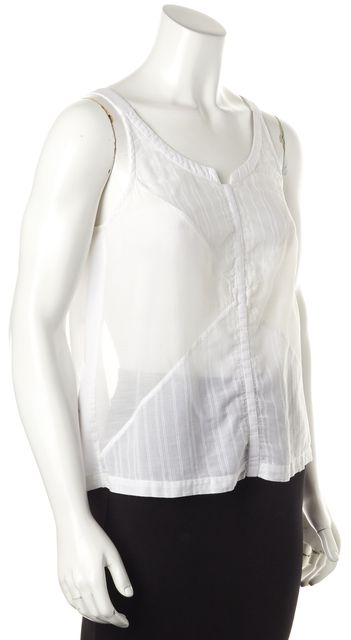 A.L.C. White Cotton Open Back Sleeveless Semi Sheer Blouse Top