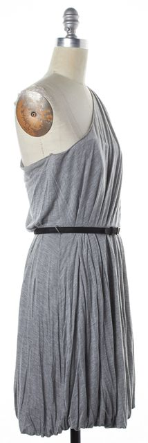 A.L.C. Gray Black Belted One Shoulder Tunic Dress