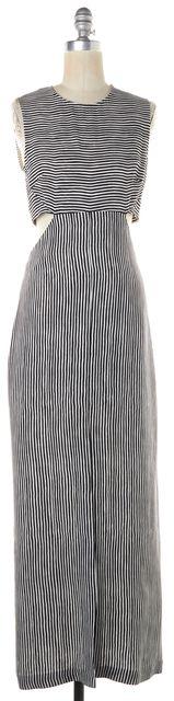 A.L.C. Black White Striped Silk Sleeveless Cutout Back Maxi Dress