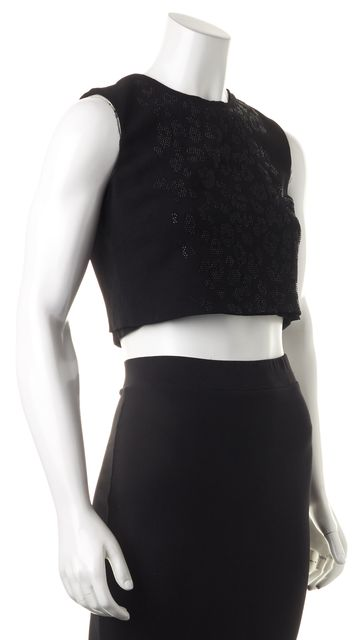 A.L.C. Black Jewel Embellished Sleeveless Cropped Blouse Top