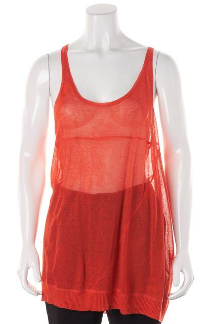 A.L.C. Orange Sheer Knit Racerback Top