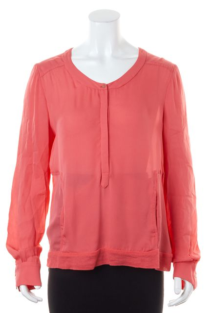 A.L.C. Salmon Pink Crepe Silk Long Sleeved Blouse Top