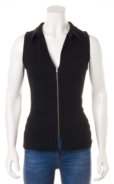 A.L.C. Black Sleeveless Zip Front Blouse Top