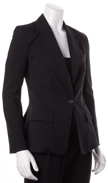 A.L.C. Black Wool Single Button Classic Fitted Blazer Jacket