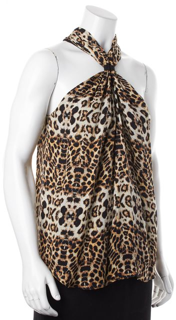 A.L.C. Beige Brown Leopard Printed Silk Halter Style Sleeveless Blouse Top