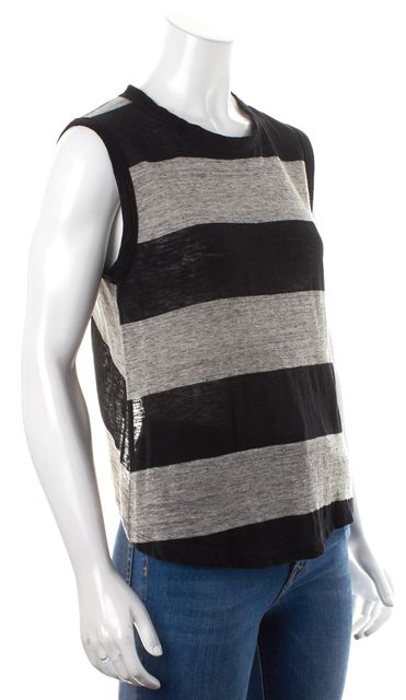 A.L.C. Black Gray Solid Striped Casual Linen Tank Top