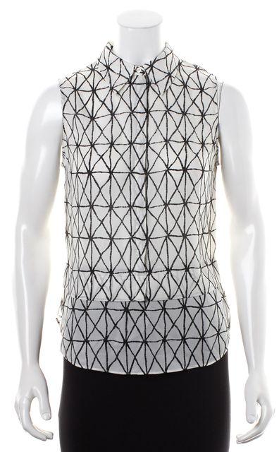 A.L.C. White Black Sheer Geometric Print Crepe Silk Button Down Shirt