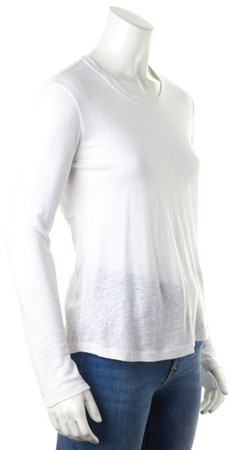 A.L.C. White Linen Twist Back Cut Outs Long Sleeve Knit Jersey Top