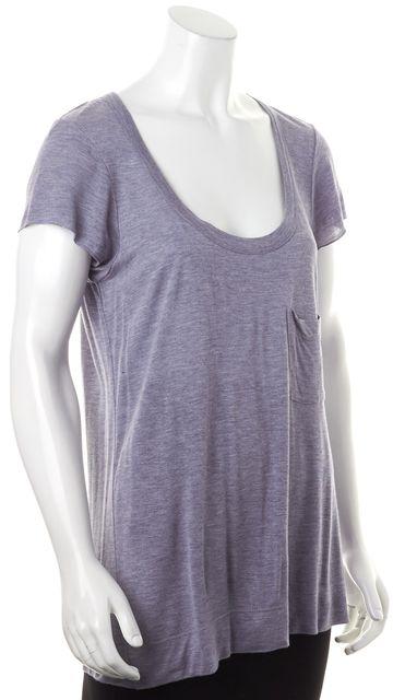 A.L.C. Pale Blue Sheer Front Pocket Short Sleeve T-Shirt