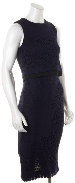 A.L.C. Navy Blue Black Crochet Overlay Sleeveless Skirt Suit Set