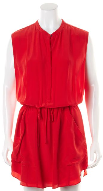 A.L.C. Red Silk Sleeveless Drawstring Waist Pocket Front Blouson Dress