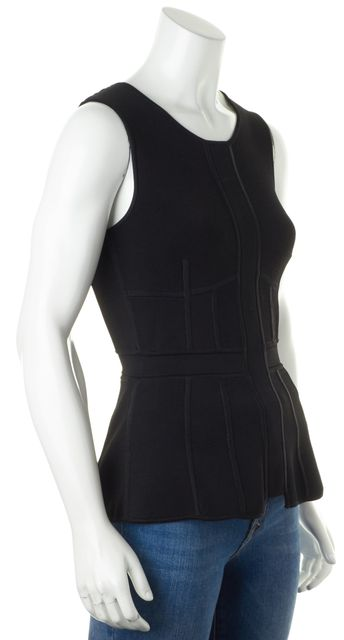 A.L.C. Black Sleeveless Contrast Back Zip Peplum Knit Top Blouse