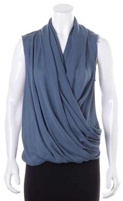 A.L.C. Medium Blue Sleeveless Crepe Silk Wrap Effect Blouse