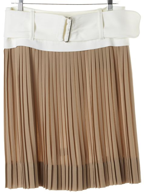 A.L.C. Beige Ivory Colorblock Belted Pleated Skirt