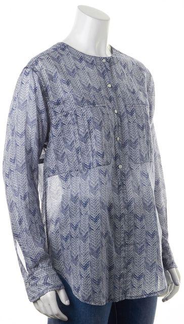 A.L.C. White Blue Sheer Herringbone Print Long Sleeve Button Down Shirt