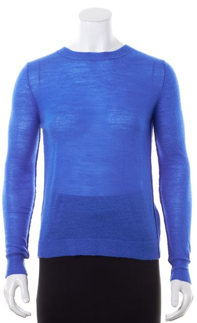 A.L.C. Cornflower Blue Wool Crewneck Semi Sheer Crossover Knit Top