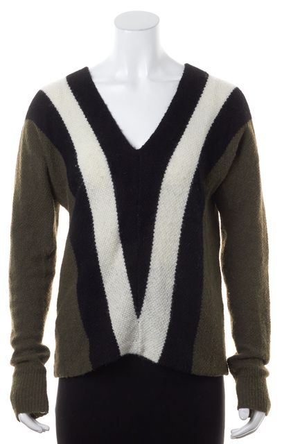 A.L.C. Green Black White Color Block Wool V-Neck Sweater