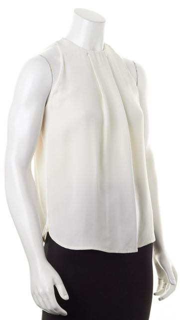A.L.C. Ivory Silk Draped Front Sleeveless Blouse Top