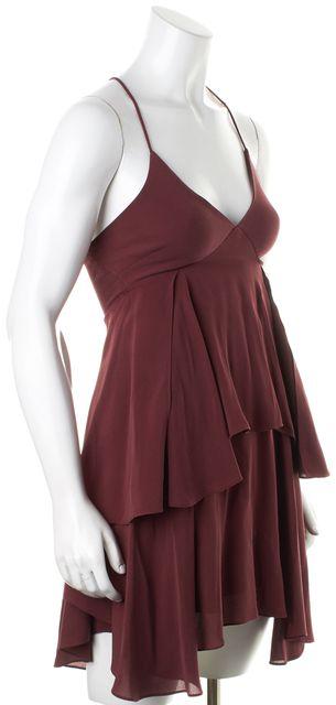 A.L.C. Dark Burgundy Red Silk Spaghetti Strap Tiered Shift Dress