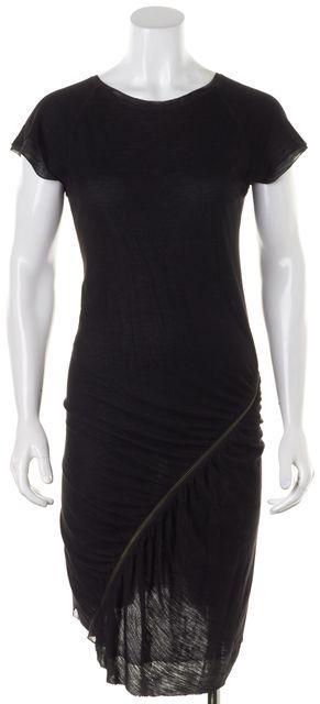 A.L.C. Black Gray Cap Sleeve Ruched Zipper Sheath Dress