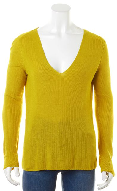 A.L.C. Mustard Yellow Knit V-Neck Cut Out Sweater