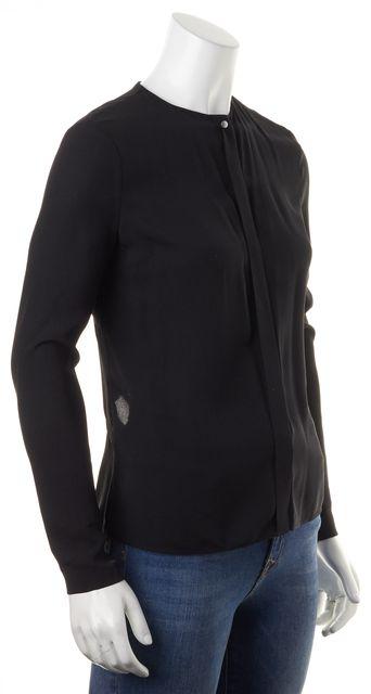 A.L.C. Black Silk Long Sleeve Cutout Back Sheer Blouse