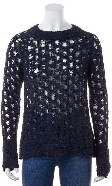 A.L.C. Navy Blue Sheer Textured Open Knit Long Sleeve Crewneck Sweater