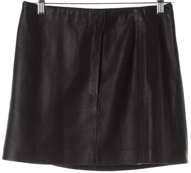 A.L.C. Black Solid Leather Front Pocket Mini Skirt