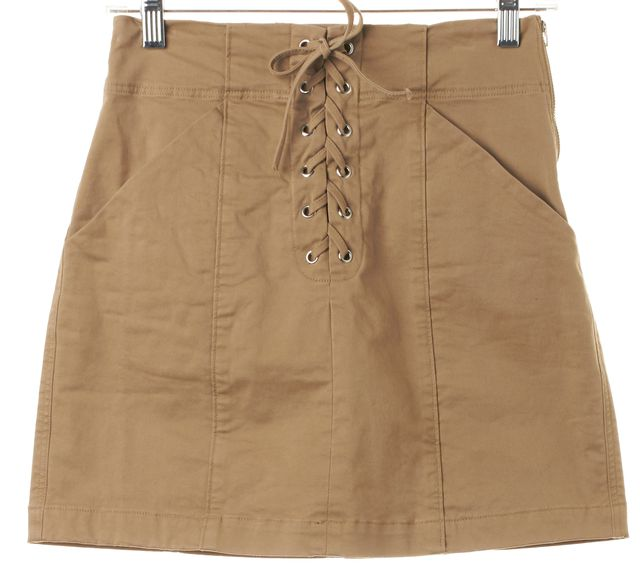 A.L.C. Brown Stretch Cotton Lace-Up Above Knee A-Line Skirt