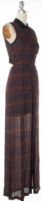 A.L.C. Brown Navy Silk Abstract Printed Cutout Sleeveless Maxi Shirt Dress