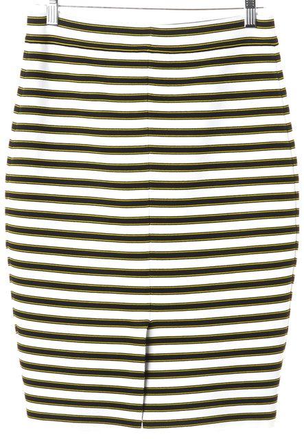 A.L.C. White Black Yellow Striped Stretch Knit Skirt